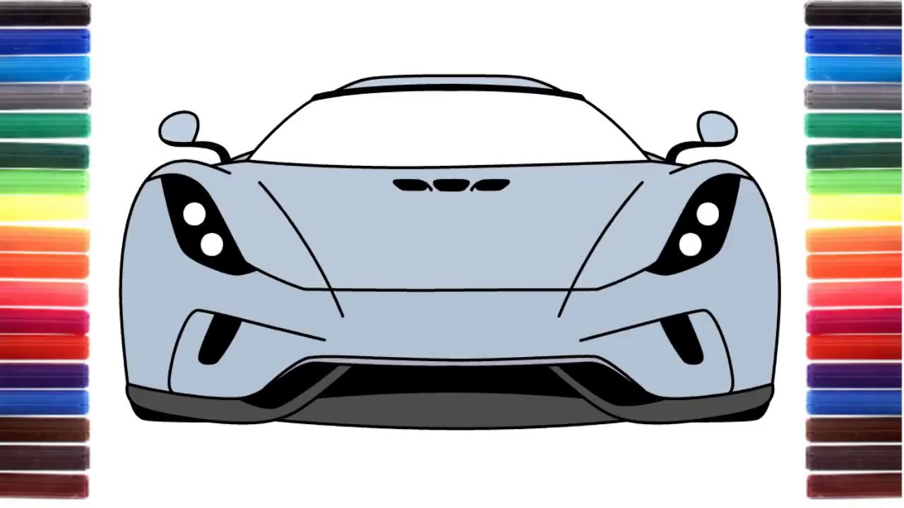 How to draw a car Koenigsegg Regera front view - YouTube