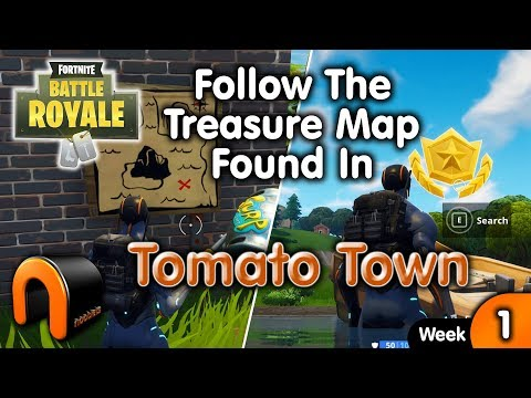 Follow The Treasure Map Found In Tomato Town -  Fortnite Week 1 Challenge