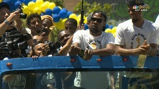 Kevin Durant Struggles to Open Champagne Bottle - 2018 Golden State Warriors Championship Parade