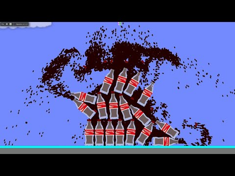 Simulation with a large amount of cola and mentos | Algodoo