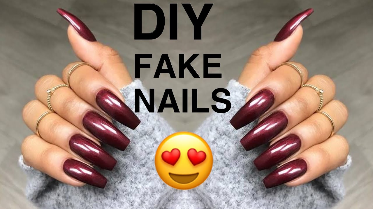 DIY: Fake Nails At Home! Under $10 (NO ACRYLIC) | Easy ...