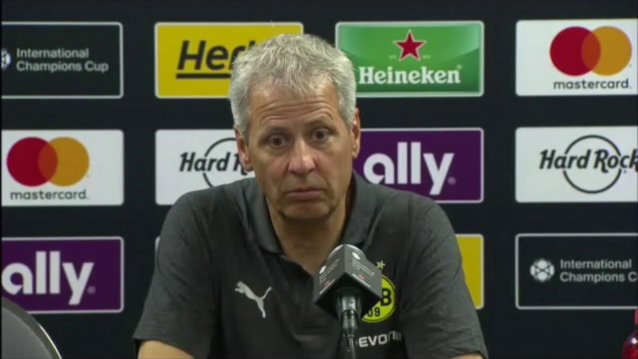 BVB-PK mit Lucien Favre nach dem 1:0 gegen Manchester City