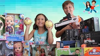 MOSTRANDO BRINQUEDOS DA BABY ALIVE, NERF, SLIME, MOANA - Opening Presents Toys and Gifts