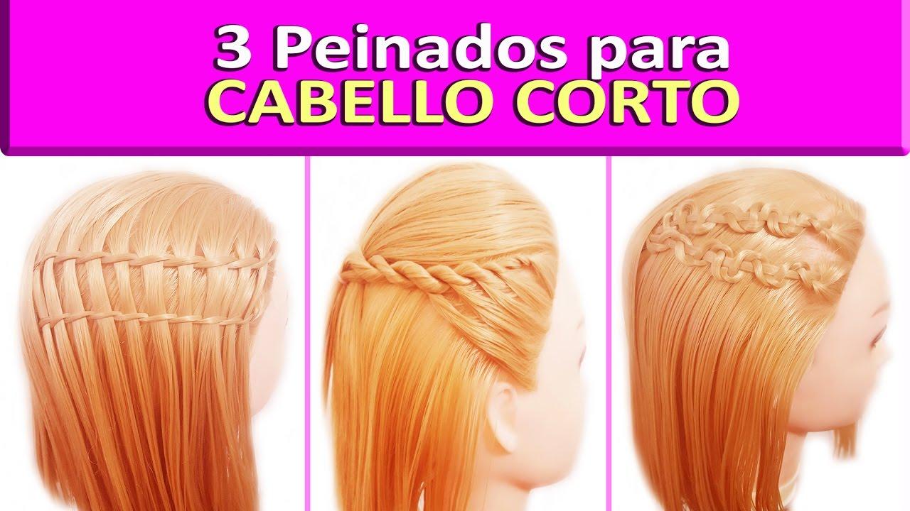 3 Peinados Para Pelo Corto Trenzas Para Cabello Largo Faciles