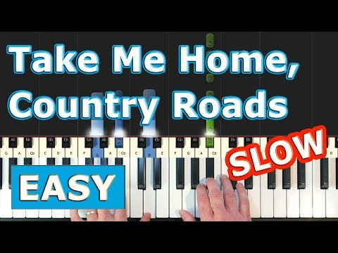 Take Me Home,  Country Roads - EASY SLOW Piano Tutorial - Sheet Music (Synthesia) thumbnail