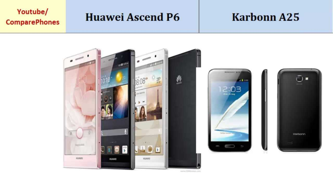 Huawei Ascend P6 VS Karbonn A25, compare specifications ...