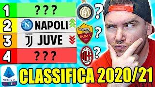 Ecco il mio pronostico sulla classifica di serie a 2020/2021alla fine del campionato andremo vedere quante ne ho prese!#seriea #calciocome sarÀ la classifi...