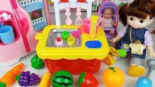 Baby doll and fruit jelly cooking toys kitchen play - ToyMong TV 토이몽