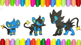 Pokemon coloring pages for kids - Shinx, Luxio and Luxray