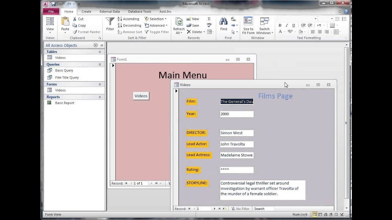 Creating a Main Menu Form in an Access Database - YouTube