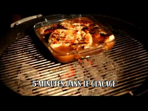 Recette de poulet grill au bbq gla age aux ananas smoke house youtube - Poulet grille au barbecue ...