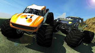 SURVIVING A MONSTER TRUCK AVALANCHE! - BeamNG Gameplay Race & Crashes