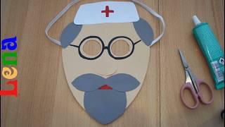 Arzt Maske basteln  -  How to make doctor mask DIY -  как сделать маску доктора айболита