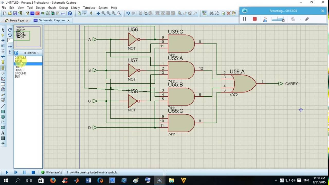 how to design 4 bit(4*2) bcd multiplier by proteustutorial ... 8 bit multiplier circuit diagram #14
