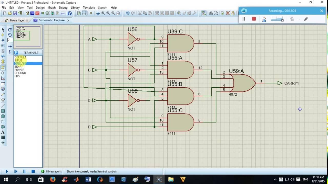 how to design 4 bit 4 2 bcd multiplier by proteustutorial 05 [ 1280 x 720 Pixel ]