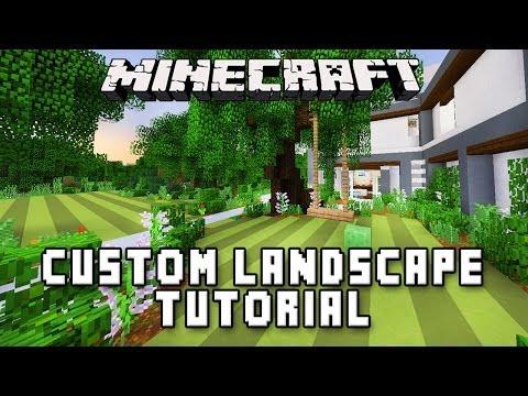 minecraft tutorial swing set and custom garden landscape modern build house ep 34