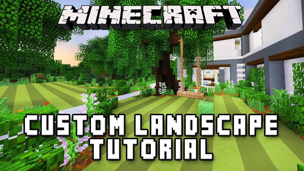 Minecraft Tutorial: Swing Set And Custom Garden Landscape (Modern Build  House Ep.34)   YouTube
