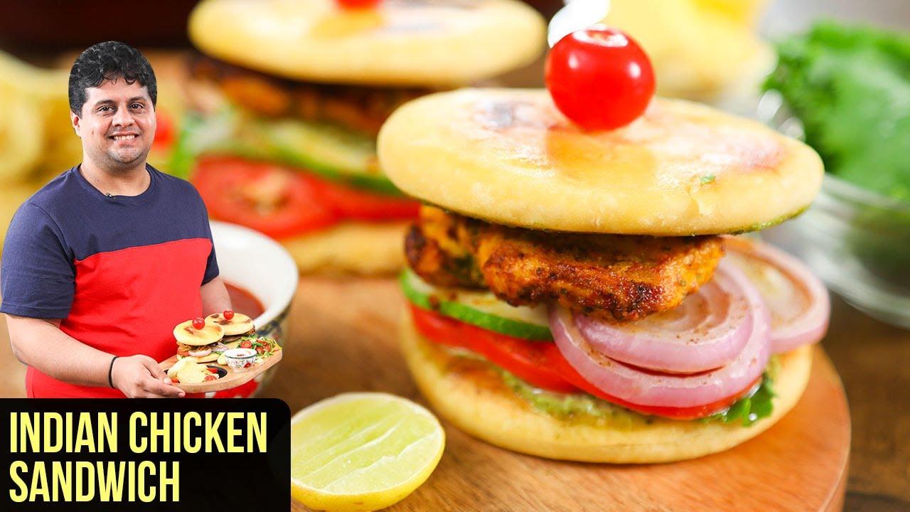 Indian Chicken Sandwich   How to make Chicken Naan Sandwich   Sandwich Recipe by Prateek Dhawan