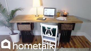DIY Crate Desk - Grab Michaels' crates and an IKEA butcher block for this geunis idea! | Hometalk