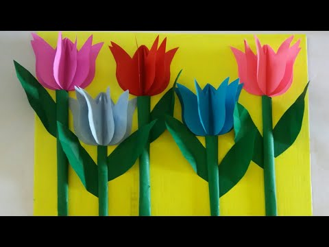 DIY: HOW TO MAKE 3D TULIPS FLOWERS 2019 | Paper craft ideas | papermaking | Easy flowers tutorial
