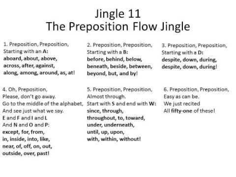 Jingle 11 - The Preposition Flow Jingle - 3rd thru 8th