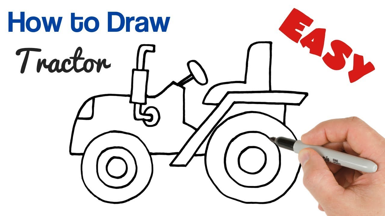 How To Draw A Tractor Easy For Beginners Step By Step Youtube
