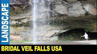 Bridal Veil Falls 45-foot beautiful waterfall by Jarek Nantahala National Forest, North Carolina USA
