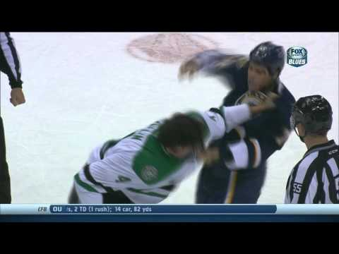 Ryan Reaves vs Brenden Dillon fight. Tooth goes flying Dallas Stars vs St. Louis Blues 11/23/13 NHL