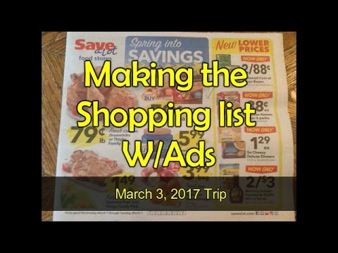 Making the Shopping List - For Trip March 3, 2017 AldiSave-A-Lot - save a lot flyer