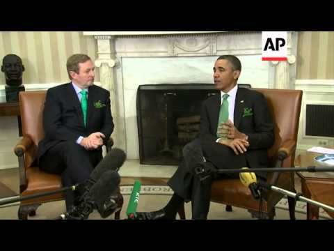 Obama and Irish PM celebrate St Patrick's Day at Oval Office