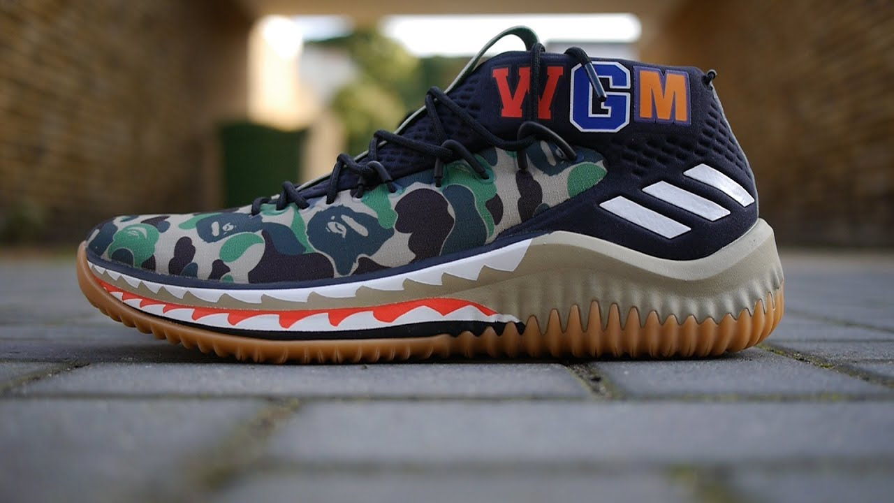 quality design 48fb4 83ad0 BAPE x Adidas Dame 4 Quick Look  On Feet (Green Camo)