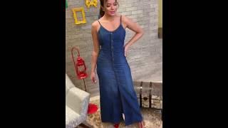 372b8bc82 Ivone - Vestido longo jeans leve botoes moda evangelica