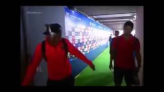 Neymar pranks Luis Suarez by handing him his used chewing gum.