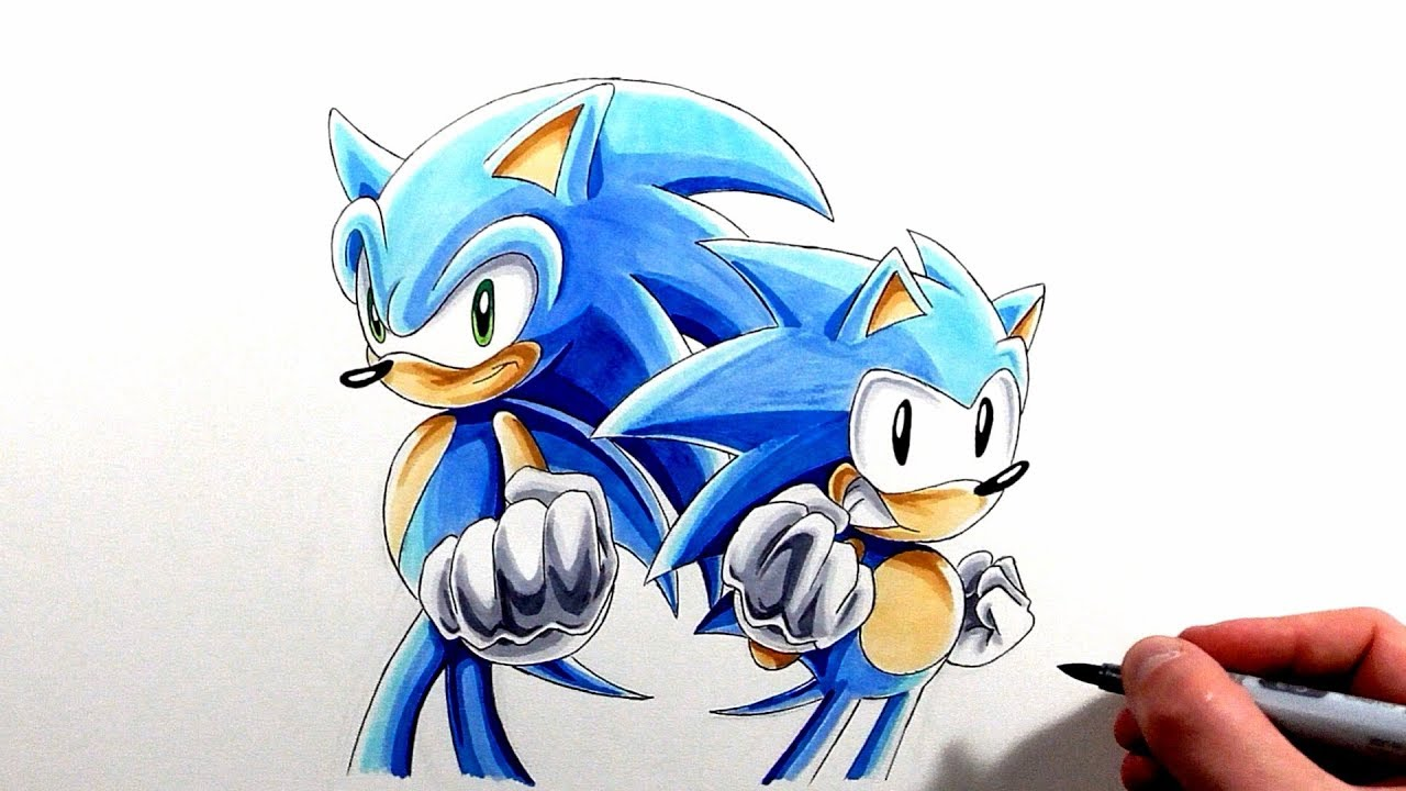 Drawing Classic And Modern Sonic Sonic Generations Youtube