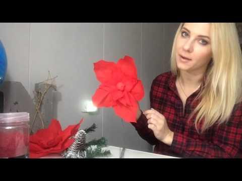 Новогодний декор: композиция (цветок, елочная ветка и подсвечник) DIY