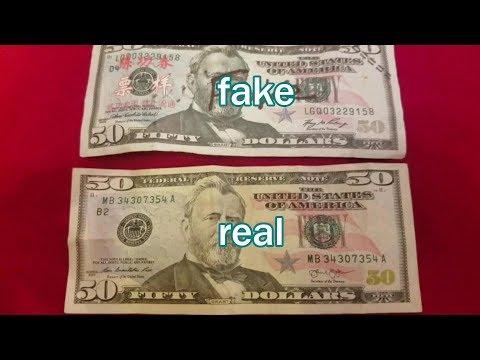 compare Fake $50 Bill from China vs  Real $50 USA Bill