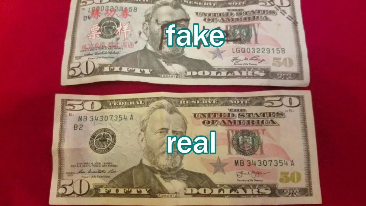 compare Fake $50 Bill from China vs  Real $50 USA Bill
