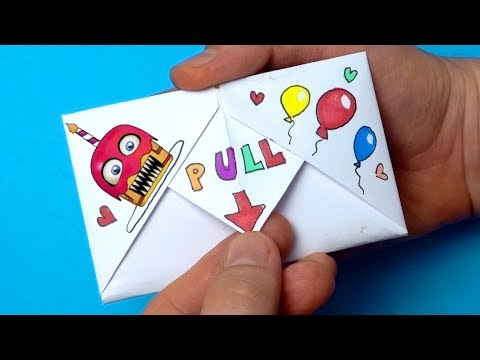 DIY Pull Tab Origami With Funtime Freddy From FNaF | Surprise Letter Folding Origami