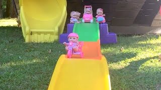 Lil Cutesies Baby Dolls Race Pirate Ship Playground Playing in Doll Car and Babies Rollercoaster