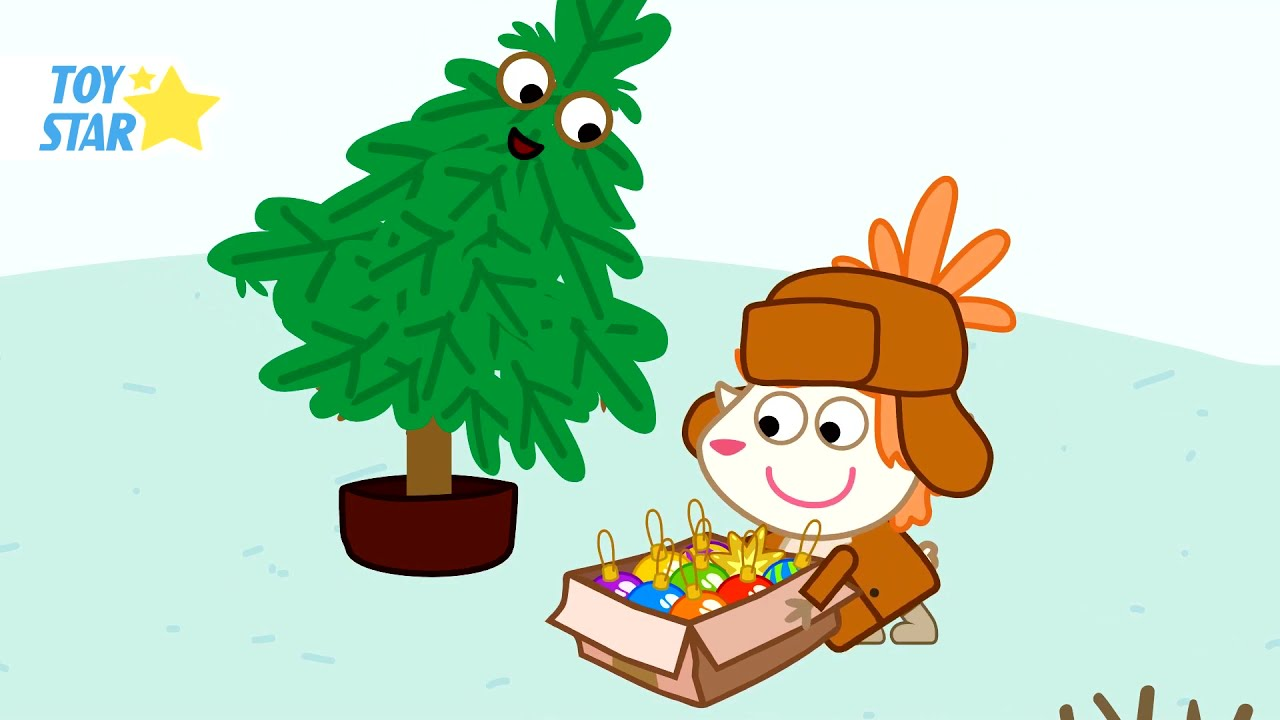 New Year's Gifts and a Live Tree. Funny Cartoon For Kids