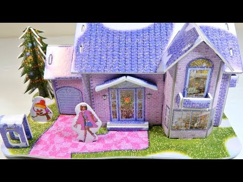 DIY 3D Puzzle Assemble Paper Snow Paradise House Coin Bank