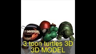 3D Model of 3 toon turtles 3D Review