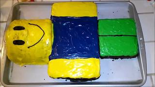 HOW TO MAKE A ROBLOX NOOB BIRTHDAY CAKE!