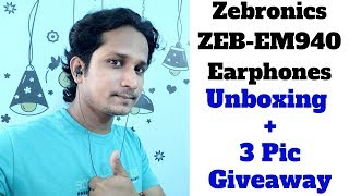Zebronics ZEB-EM940 Wired Stereo Earphone Unboxing and Review | Giveaway-1