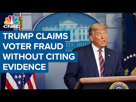 President Donald Trump complains about election integrity, without citing evidence