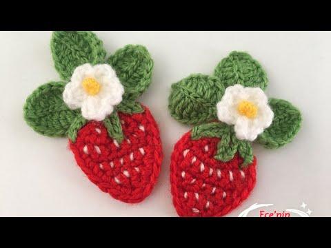 🍓🍃Tığ iş Örgü Çilek Aplik/Figür Çalışması/knitting strawbery