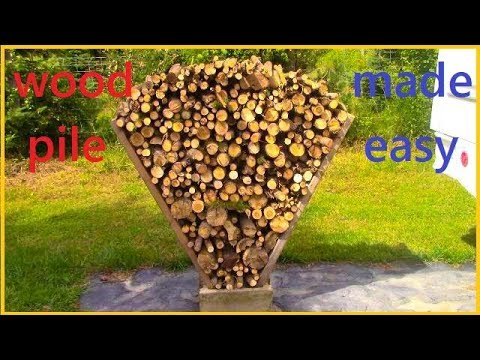 easy way to stack wood, wood pile,  DIY,  firewood, fire pit, campfire, tiny home