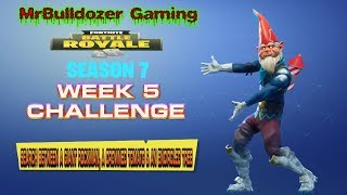 Fortnite Season 7 Week 5 Challenge Search Between a Rockman a Crowned Tomato & an Encircled Tree