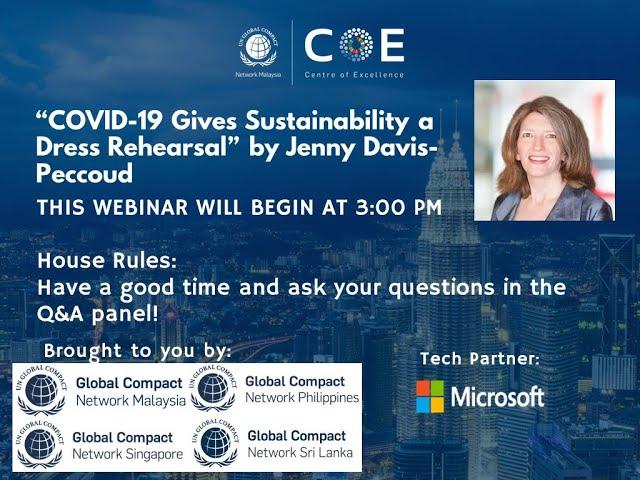 """""""COVID-19 Gives Sustainability a Dress Rehearsal"""" Webinar by Jenny Davis-Peccoud"""