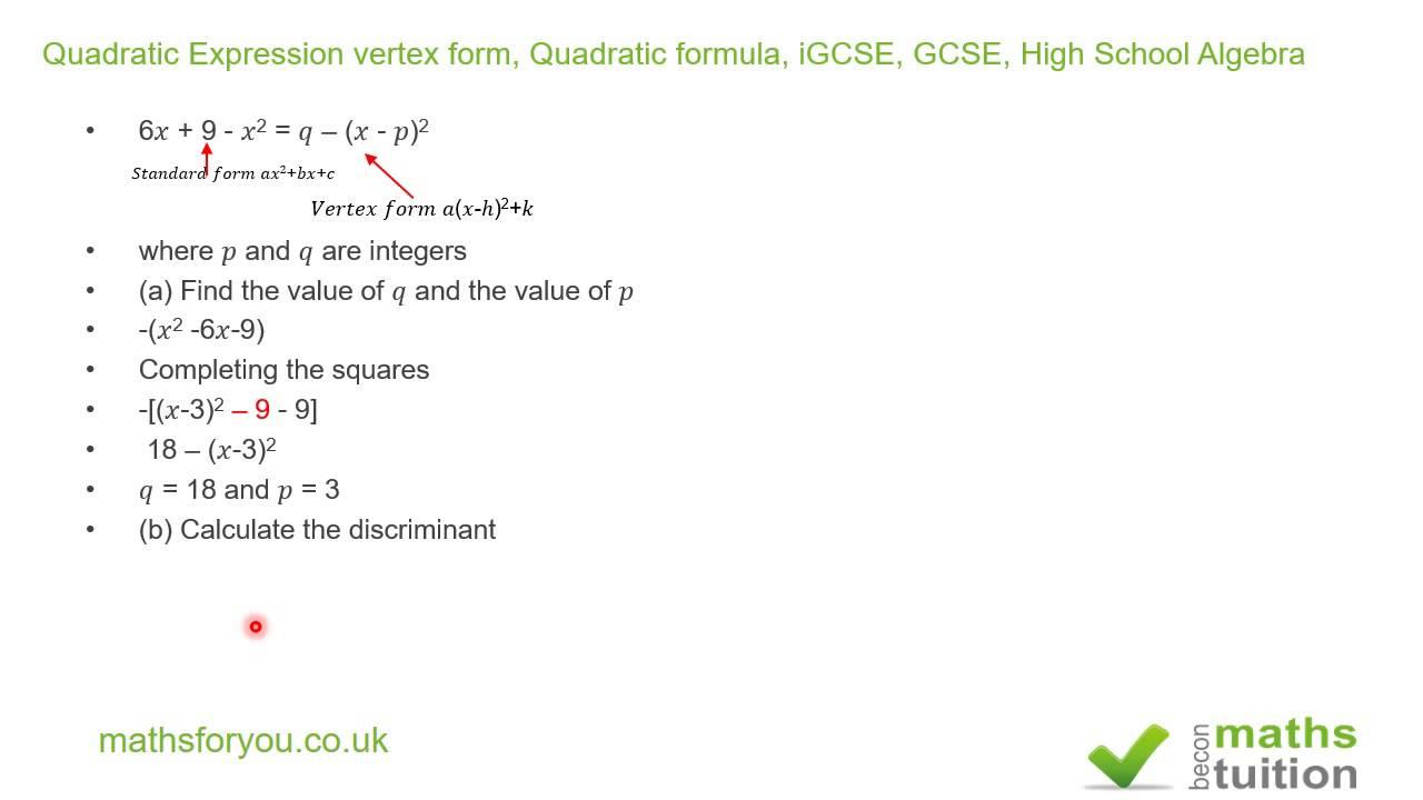 Quadratic expression vertex form quadratic formula igcse gcse quadratic expression vertex form quadratic formula igcse gcse high school algebra falaconquin